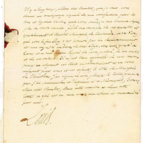 LOUIS XVI. Lettre autographe signée « Louis » au secrétaire d'État de sa Maison,…