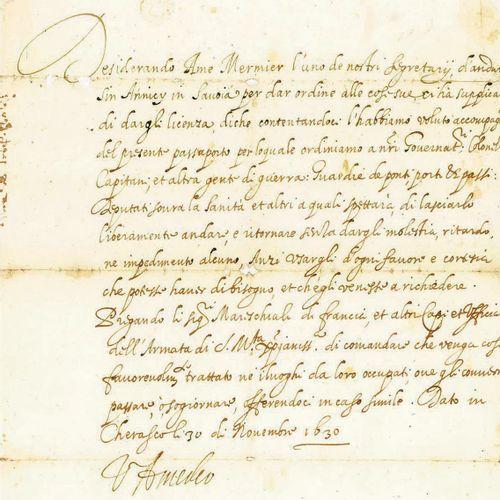 SAVOIE. VICTOR AMÉDÉE Ier DE SAVOIE. Pièce signée « V. Amedeo », en italien. Che…