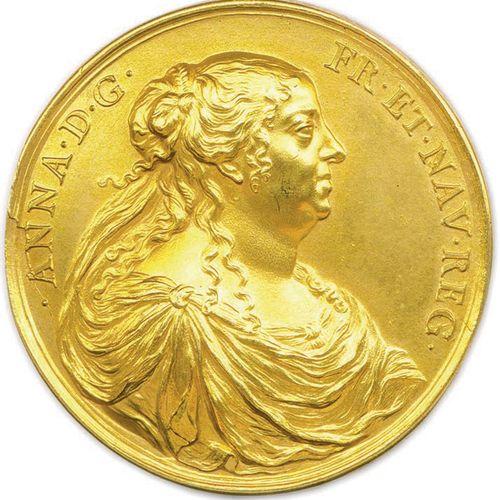 MEDAILLE EN BRONZE DORE DE LA REGENCE D'ANNE D'AUTRICHE 1644 DU GRAVEUR JEAN VAR…