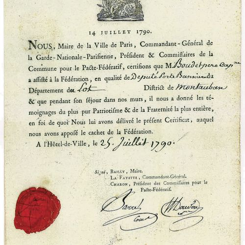 FÊTE DE LA FÉDÉRATION. BAILLY (Jean Sylvain), Gilbert Du Motier de LA FAYETTE, J…