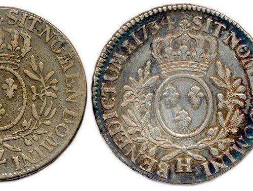 LOT DE 5 MONNAIES EN ARGENT DE LOUIS XV DU TYPE AUX LAURIERS (110,53 G) : Écu 17…
