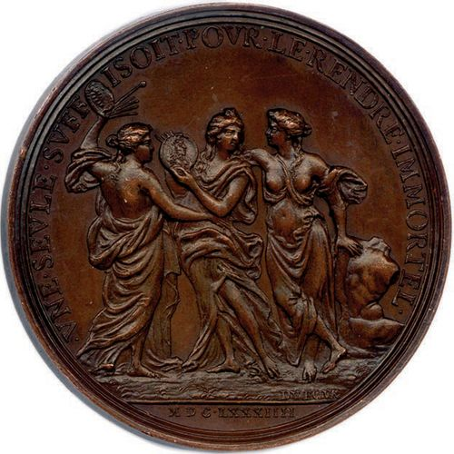 MEDAILLE EN CUIVRE DE JEAN VARIN DU GRAVEUR JEAN BAPTISTE DU FOUR 1684. IEAN•VAR…