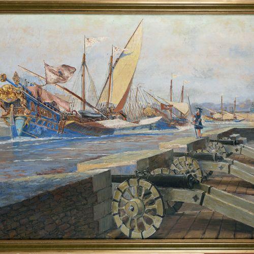 ALBERT SEBILLE (1874 1953) Ces demoiselles de Marseille rentrent au port. Règne …