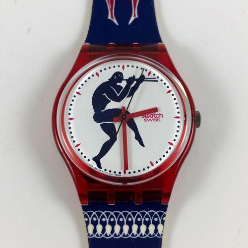 """特警队 约1992年。 编号:GR111。 型号为 """"Tedophorus """"的腕上手表。 石英机芯。 崭新的状态,原盒。 直径:34毫米。 为了更好地保存,购…"""