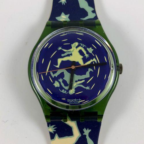 """SWATCH Vers 1991. Réf: GG111. Montre bracelet modèle """"Crash"""". Mouvement quartz. …"""