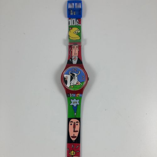 """SWATCH  Vers 1997.  Réf: GR134.  Montre bracelet modèle """"S Stand Les Champs de Z…"""