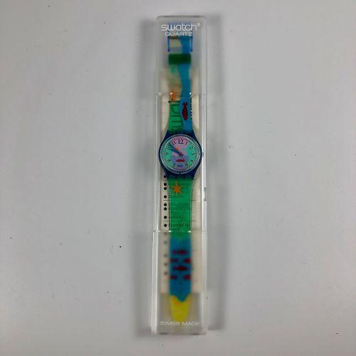 """SWATCH Vers 1991. Réf: GN118. Montre bracelet modèle """"Hookipa"""". Mouvement quartz…"""