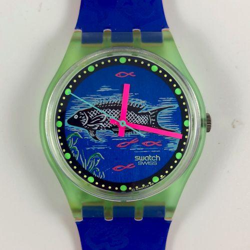 """SWATCH Vers 1991. Réf: GG116. Montre bracelet modèle """"Frische Fische"""". Mouvement…"""