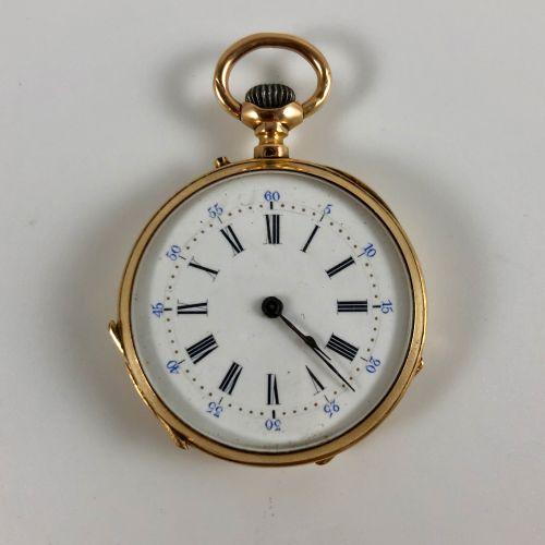 黄金怀表  约1900年。  黄金表壳750/1000,手动上链机械机芯,白色珐琅表盘,罗马数字。  似乎是有效的,但不保证。  直径:32毫米。  毛重:29…
