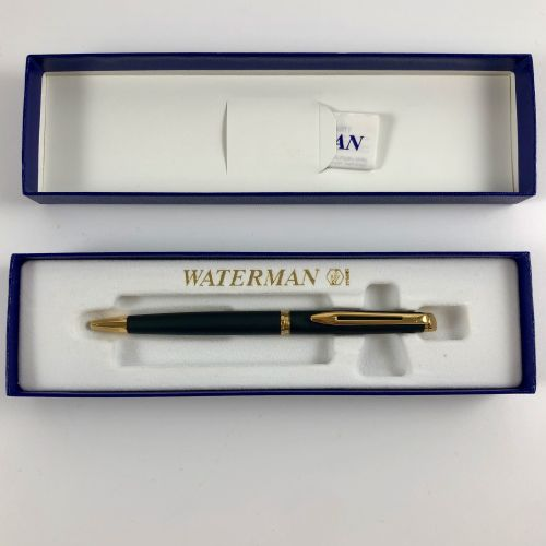 Waterman金色圆珠笔。全新的原包装盒。黑色墨水,镀金。长度:13.1厘米。