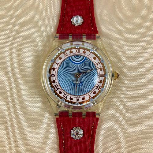 """SWATCH  Vers 1993.  Réf: GZ127.  Montre bracelet modèle """"Roi Soleil"""".  Mouvement…"""