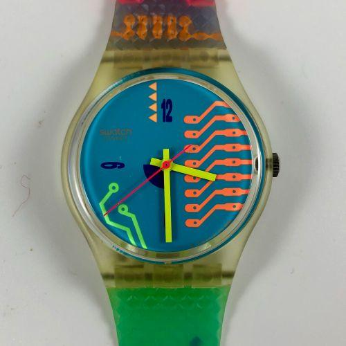 "SWATCH Vers 1991. Réf: GK122. Montre bracelet modèle ""Hacker's Reward"". Mouvemen…"