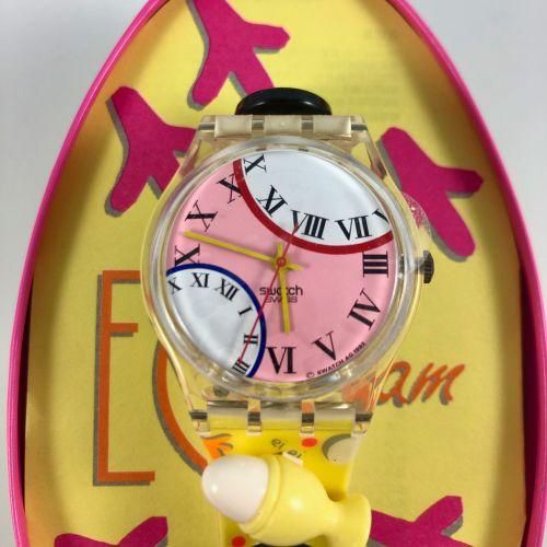 """SWATCH  Vers 1994.  Réf: GZ128.  Montre bracelet modèle """"Eggs Dreams 1994"""".  Mou…"""