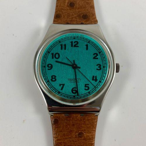 """SWATCH Vers 1991. Réf: GX110. Montre bracelet modèle """"Greenie"""". Mouvement quartz…"""