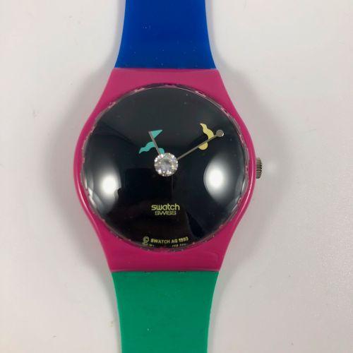 """SWATCH  Vers 1994.  Réf: GZ129.  Montre bracelet modèle """"Cristal Surprise Swatch…"""
