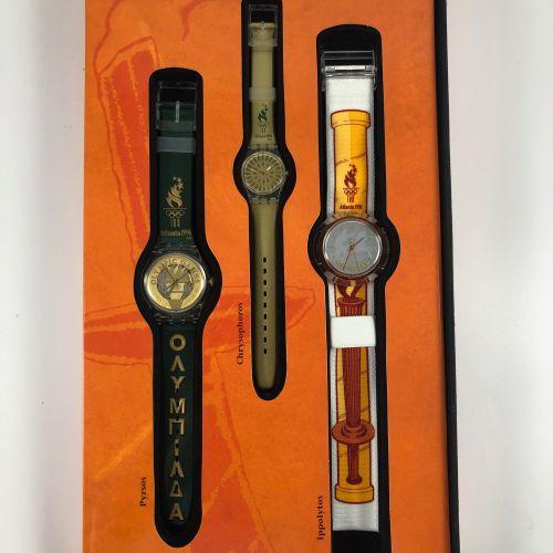 SWATCH  Vers 1990.  Réf: SZ901.  Coffret de neuf montres bracelet édition limité…