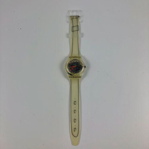 """SWATCH  Vers 1993.  Réf: GZ124.  Montre bracelet modèle """"Scribble Noel 1993 Swat…"""