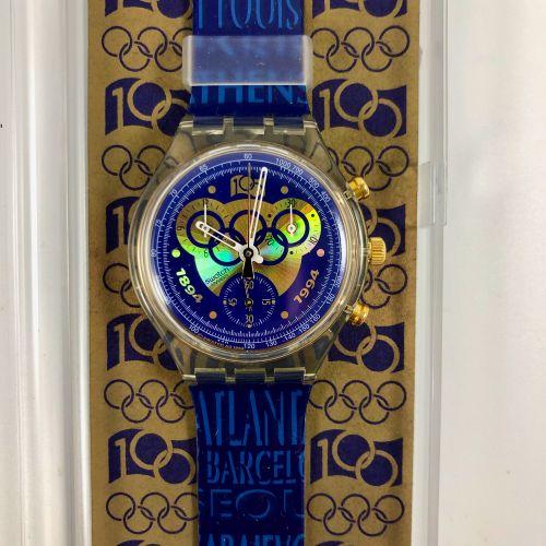 "SWATCH  Vers 1994.  Réf: SCZ101.  Montre bracelet type chronographe modèle ""100 …"