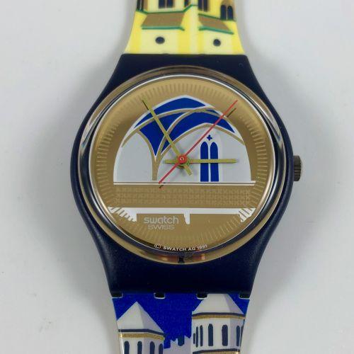 """SWATCH Vers 1990. Réf: GN120. Montre bracelet modèle """"Back Stage"""". Mouvement qua…"""