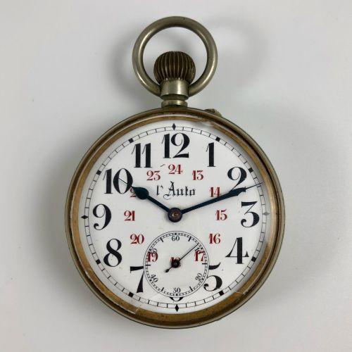 自动。编号:740494。银色怀表。白色表盘。喷漆的阿拉伯数字,第二组为下午的时间,用红色喷漆,铁路。6点钟方向的秒针计数器。机械机芯,手动上链。职能部门。没有…