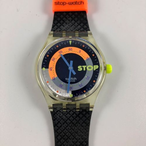 "SWATCH  Vers 1993.  Réf: SSK100.  Montre bracelet type stop watch modèle ""Coffee…"