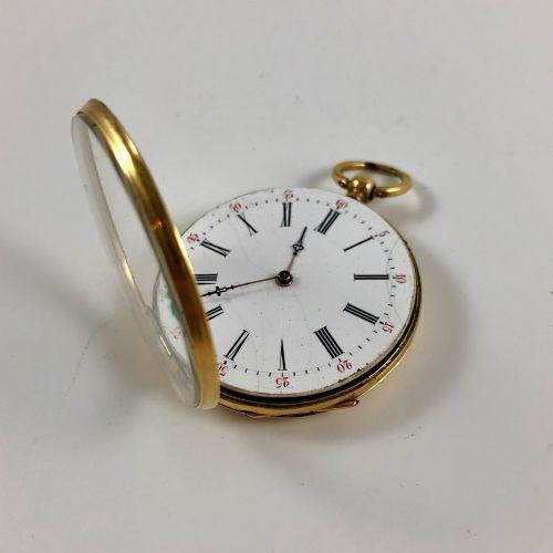 黄金怀表  约1880年。  750/1000黄金表壳,手动上链机械机芯,白色珐琅表盘,罗马数字指示器  要修改的是,摆轮不见了。  直径:43毫米。  毛重:…