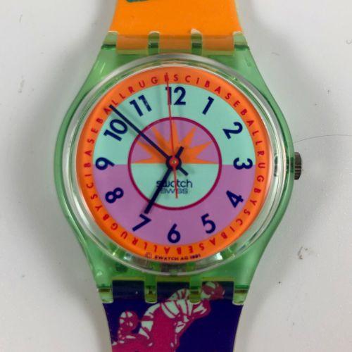"""SWATCH Vers 1990. Réf: GC117. Montre bracelet modèle """"Curling"""". Mouvement quartz…"""