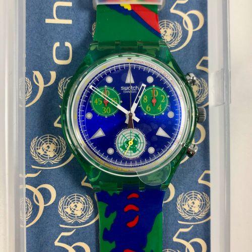 """SWATCH  Vers 1995.  Réf: SCZ103.  Montre bracelet type chronographe modèle """"UN L…"""