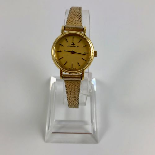 MONTRE JEAGER LECOULTRE  Montre en or jaune 750/1000, bracelet plaqué or. Fond d…