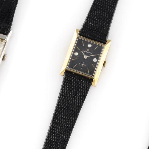 """维特瑙尔 约1950年。 编号:4044577/2360 9WN。 10K镀金腕表,签名的长方形 """"坦克 """"表壳,黑色表盘。钻石和指挥棒式时标,6点钟位置的秒针…"""
