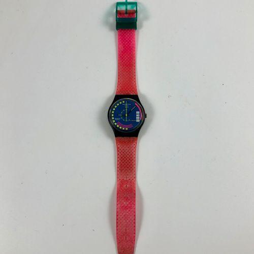 """SWATCH Vers 1990. Réf: GB412. Montre bracelet modèle """"Traffic Jam"""". Mouvement qu…"""