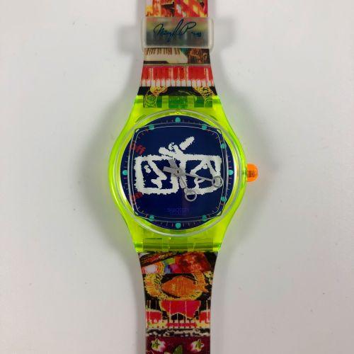 """SWATCH  Vers 1990.  Réf: SLZ104.  Montre bracelet modèle """"Nam June Paik"""".  Mouve…"""