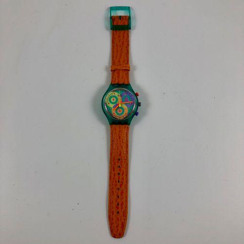 "SWATCH  Vers 1993.  Réf: SCL102.  Montre bracelet type chronographe modèle ""Soun…"