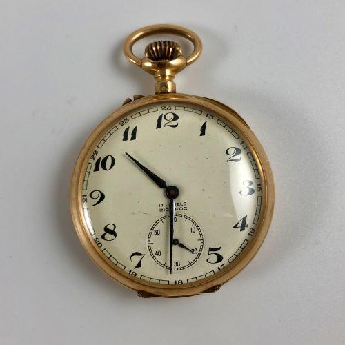粉红色的金色无名氏夹层。 编号:11964。佚名粉红金Gousset 750/1000。搪瓷表盘。彩绘阿拉伯数字,铁轨。6点钟方向的秒针计数器。表背上的刻字。机…