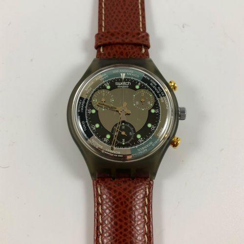 "SWATCH  Vers 1993.  Réf: SCM102.  Montre bracelet type chronographe modèle ""Jet …"