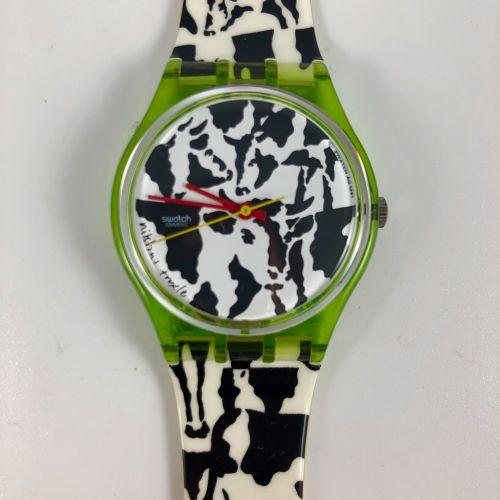 """SWATCH  Vers 1991.  Réf: GZ117.  Montre bracelet modèle """"Flack 700 ans Confédéra…"""