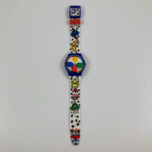 """SWATCH  Vers 1993.  Réf: GN134.  Montre bracelet modèle """"Space people Castelbaja…"""