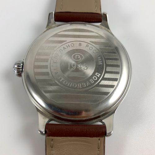 VOSTOK  K 43  Montre bracelet en acier, boîtier rond en acier, cadran blanc, bra…