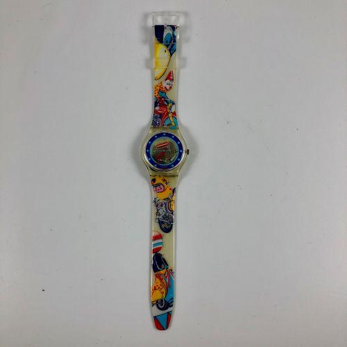 """SWATCH Vers 1990. Réf: GK155. Montre bracelet modèle """"Tin Toy"""". Mouvement quartz…"""