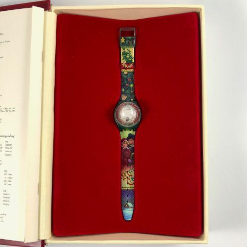 """SWATCH  Vers 1995.  Réf: GZ148.  Montre bracelet modèle """"Christmas 1995"""".  Mouve…"""