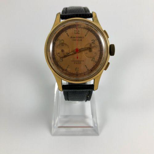 JEAN PERRET.瑞士计时码表。 约1960年。9点钟位置的第二计数器,3点钟位置的天文台分钟。钢制表壳背面。彩绘表盘,阿拉伯数字和应用巴顿时标。黑色真皮…