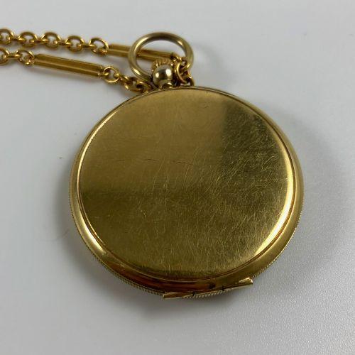 SIEGEL  Montre de gousset avec chainette couleur or. Index chiffres arabes peint…