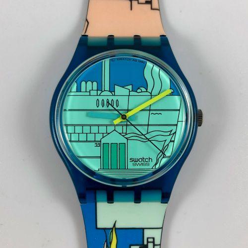 """SWATCH Vers 1990. Réf: GN109. Montre bracelet modèle """"Metroscape"""". Mouvement qua…"""