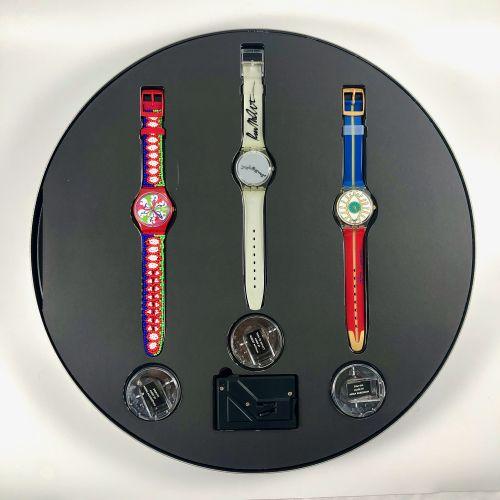 SWATCH  Vers 1990.  Réf: GZ806.  Coffret de trois montres bracelet édition limit…