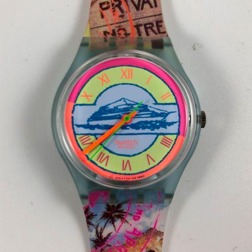 """SWATCH Vers 1990. Réf: GN127. Montre bracelet modèle """"Postcard"""". Mouvement quart…"""