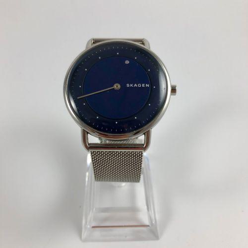 Skagen horizon.圆形钢制表壳。蓝色表盘,点状指数,单指针。石英机芯。要更换的电池。直径:40毫米。长度:24.7厘米。