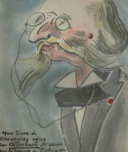 *Ferdinand BAC. 6 dessins originaux aux crayons de couleur avec légendes autogra…