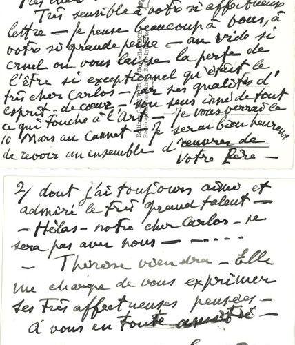 *André DUNOYER DE SEGONZAC. 2 L.A.S., Saint Tropez 1968 1970 ; chacune au dos de…