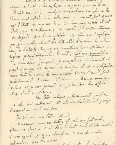 *Paul GAUGUIN (1848 1903). MANUSCRIT autographe, Messieurs les Juges, Messieurs …