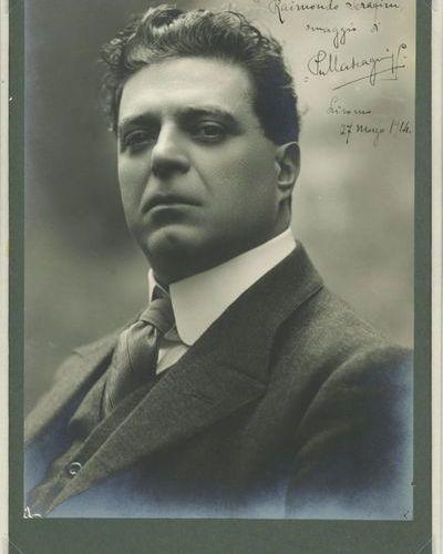 *Pietro MASCAGNI (1863 1945). PHOTOGRAPHIE avec dédicace autographe signée, 1914…